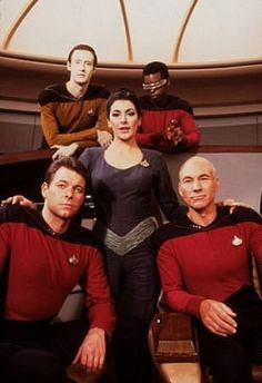 Captain Jean-Luc Picard, Lt. Commander Geordi La Forge, Lt. Commander Data, Counselor Deanna Troi, Commander William T. Riker