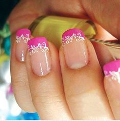 French Manicure with Pink and White Decorated Tips – sweet pink nails art.jpg French Manicure with Pink and White Decorated Tips – sweet pink nails art.jpg was last modified: February… Lace Nail Art, Lace Nails, Pink Nail Art, Gold Nails, French Tip Nails, French Manicure With Design, Nail French, French Manicures, Fabulous Nails