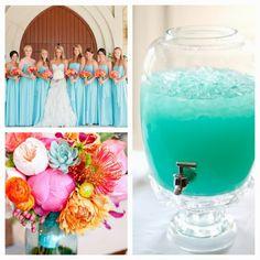 My future wedding. Teal and coral. Blue kool aid with lemonade. Loveeee!