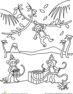 birthday monkey coloring page
