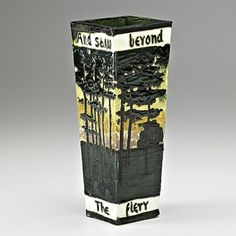 """William Percival Jervis (1849-1925) - For Briarcliff (1904-1913) - Pine Trees Vase. Matte-Glazed Pottery. Inscribed: """"And saw beyond the pine trees the firey forges flame"""". Ossining, New York (Most Likely Made in Oyster Bay, New York). Circa 1913. 8"""" x 3""""."""