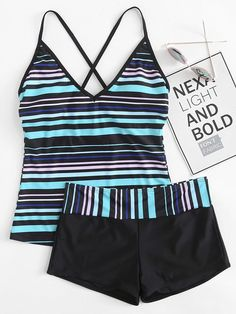 870d1c3ce55c4 Striped Criss Cross Top With Shorts Tankini Set. Beachwear ClothingFashion  SwimsuitsModest ...