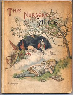 """Cover illustration for The Nursery """"Alice"""" by Lewis Carroll for illustration of an article.  The illustration was created by E. Gertrude Thomson and published by Macmillan in 1890 in London."""