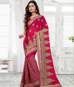 Buy Magenta Faux Georgette Saree With Blouse 75779 with blouse online at lowest…