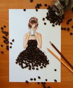 Fashion Drawing Dresses Artists Ideas For 2020 Diy And Crafts, Arts And Crafts, Paper Crafts, Coffee Bean Art, Coffee Beans, Arte Fashion, Creation Art, Ideias Diy, Fashion Design Drawings