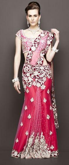 Bridal lehenga white embroidery Ideas for 2019 Pink Bridal Lehenga, Indian Bridal Lehenga, Indian Bridal Wear, Pink Lehenga, Lehenga Saree, Indian Wear, Bridal Lenghas, Pakistani Bridal, Saree Dress