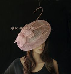 Wholesale Heather BIG saucer Sinamay Fascinator Hat with long otrich spine for wedding kentucky derby