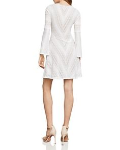 Bcbgmaxazria Bell Sleeve Lace A-Line Dress - White Lace A Line Dress, Dresses Online, Bell Sleeves, White Dress, Dresses For Work, Wedding Dresses, Shopping, Clothes, Classic