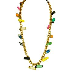 CHANEL Goldtone Chain Necklace W. Multicolor Pill Charms c. 1988 | From a unique collection of vintage chain necklaces at http://www.1stdibs.com/jewelry/necklaces/chain-necklaces/