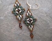 Hand Beaded Dangle Earrings in Earthtone Beads Translucent Picasso Finish in Turquoise/Gold Bronze Seed Beads /Topaz Crystal Glass Drop