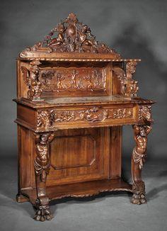 Lot:Renaissance Revival Highly Carved Walnut Server, Lot Number:1184,  Starting Bid