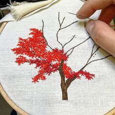 Gorgeous maple tree embroidery