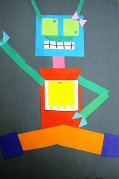 Geometric robots from scrap paper- I HATE throwing away scraps, this is perfect!