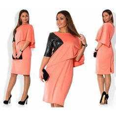 Women Plus Size Dresses, Casual Knee-Length Patchwork Dress, Red, Pink