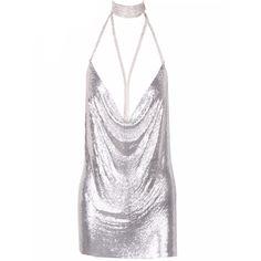 Kenda Silver Metallic Mini Dress (€102) ❤ liked on Polyvore featuring dresses, white layered dress, double layer dress, short spaghetti strap dress, short dresses and white dress