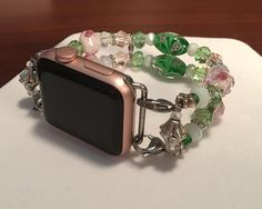 """Elegant Life: Watch Band Bracelet for 38mm Apple Watch -Pink, Green & White Beads (for Wrist Size 6 1/2 to 6 3/4"""") (Green02)"""