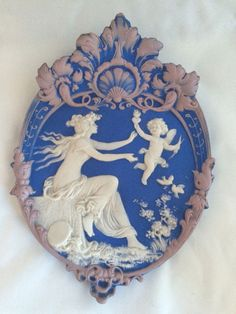 Antique Wedgwood Blue Pink Jasper dipped Cupid Sciplture plaque Bas Relief  #Wedgwood