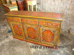 Traditional hand painted wooden sideboard cabinet- Indian painted furniture