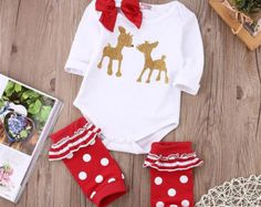 Baby Girl Long Sleeved Reindeer Printed by KiKiiGlitterandGlam