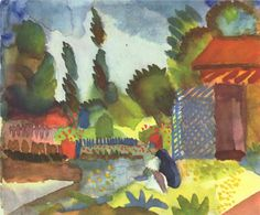 August Macke - Tunis landscape with a sedentary Arab, 1914