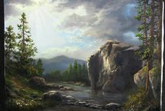 Oil painting sunlight across a cliff face, landscape with Kevin Hill. Using many techniques for landscape painting, this large cliff painting is created with. Oil Painting Lessons, Acrylic Painting Techniques, Painting Videos, Art Techniques, Kevin Hill Paintings, Simple Oil Painting, Simple Watercolor, Photography Gallery, Learn To Paint