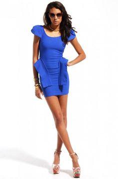 Open Back Shoulder Cap Dress in Royal Blue #dress #shopAKIRA | shopakira.com $49.90