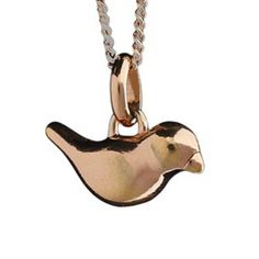 John Rocha Little Bird Medium Silver Pendant Rose Gold Vermeil Finish