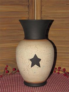 Primitive glass vase crackled black star farmhouse country hand painted