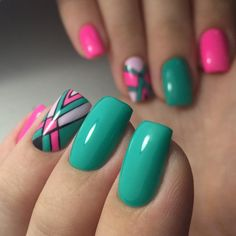 35 Cute Spring Nail Design Ideas with Bright Colour Colorful Nail Designs, Nail Designs Spring, Beautiful Nail Designs, Nail Art Designs, Stylish Nails, Trendy Nails, Cute Spring Nails, Striped Nails, Hot Nails