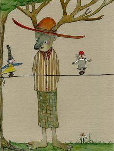 He Was A  Bona Fide Fan 8 x 10 matted water color giclee fine art print watercolor illustration painting lisa kaser