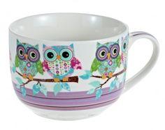 Jumbobecher Eule, lila - Kaffeebecher im XXL-Format mit witzigem Eulendesign.Material: Keramik