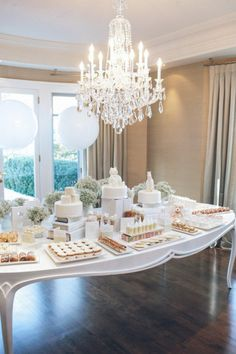 Gorgeous and elegant - all white baby shower dessert display