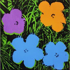 Andy Warhol, Flowers, 1964, acrylic and silkscreen ink on linen, 24 x 24 inches,