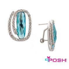 - Fashion earrings - Silver toned encrusted with white stones surrounding a blue stone in the center - French backing - Dimension: length, width. POSH by FERI - Passion for Fashion - Luxury fashion jewelry for the designer in you. Fashion Earrings, Fashion Jewelry, Women Jewelry, Jewellery Earrings, Monogram Earrings, Selling On Pinterest, Shopping Hacks, Designer Earrings, Passion For Fashion