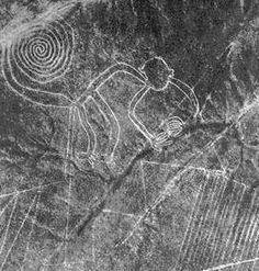 In the Nazka desert (in southern Peru) there are geoglyphs of Nazca also called « Nazca Lines » are a series of geometric lines which make some shapes, more exactly animal figures. Some archeologists have study about this subject and there was research to see how these lines were realized. These figures are representing animals like spiders, monkeys, fish, sharks, orcas, llamas, and lizards.