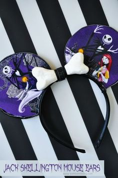 DIY Jack Skellington Mouse Ears Tutorial - SO CUTE for Disneyland at Halloween!!