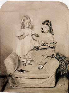 Florence Nightingale Florence (on left) and her sister Parthenope as children. Florence was named after the city of Florence, Italy; Parthe was named after Naples-- Parthenope is its Greek name. History Of Nursing, Medical History, Vintage Nurse, Vintage Medical, Famous Nurses, Ute Lemper, Nurse Art, Victorian Hair, Nursing Pins