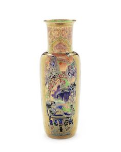 Daisy Makeig-Jones for Wedgwood 'Pillar' a Flame Fairyland Lustre Vase, circa 1925