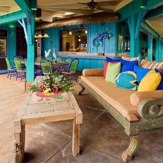 Love the colors! Hawaiian Cottage Style - tropical - patio - hawaii - Fine Design Interiors, Inc Patio Tropical, Design Tropical, Style Tropical, Tropical Colors, Outdoor Kitchen Design, Patio Design, Interior Design Kitchen, House Design, Kitchen Designs