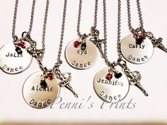 Hand stamped on aluminum 1 disc DANCE and personalized. Glass beads for class colors or your favorite colors. Antiqued silver dancer charm. This is