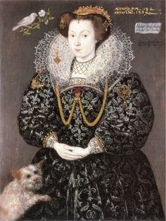 A portrait of Elizabeth Brydges (and her dog), a maid of honor of Queen Elizabeth I. By Hieronimo, circa Woburn Abbey. Elizabethan Costume, Elizabethan Era, Elizabethan Clothing, Elizabethan Fashion, Renaissance Clothing, Renaissance Fashion, 1500s Fashion, Tudor Fashion, Renaissance Portraits