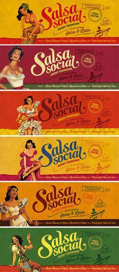 Ideas For Salsa Dancing Poster Design Label Design, Branding Design, Logo Design, Cuba Salsa, Mexican Graphic Design, Havana Nights Party Theme, Danse Salsa, Salsa Club, Facebook Cover Design