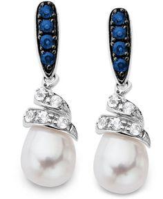 Sterling Silver Earrings, Cultured Freshwater Pearl, White Sapphire (1/5 ct. t.w.) and Blue Sapphire (1/4 ct. t.w.) Swirl Earrings - Earrings - Jewelry & Watches - Macy's