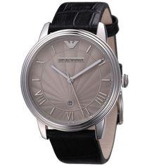 EMPORIO-ARMANI-Silver-Dial-Black-Leather-Strap-Mens-Watch-Classic-Italian-Style