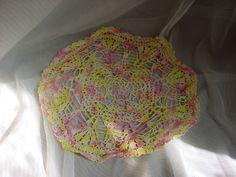 Antique Vintage Lace Doily Yellow w Pink 11 inch Round Cottage Sweet A1841 Seller florasgarden on ebay