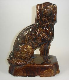 19th Century Staffordshire Bennington Rockingham Brown Pottery SPANIEL DOG   eBay