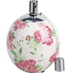 Beautiful Ceramic Garden Oil Lamp - Rose Detailing - Crackled Glaze effect.  Visit our family business...The Ginger Sheep £12.99