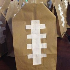 Goodie bags for football themed birthday party! Super cute!