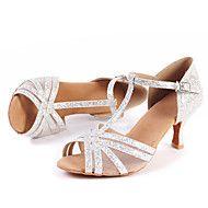 Damskie Buty Do Latino Buty Do Jazzu Buty Do Tanca Nowoczesnego Brokat Sandaly Brokat Niski Obcas Personlaizowane Buty Do Tanca Srebr Shoes Sandals Fashion