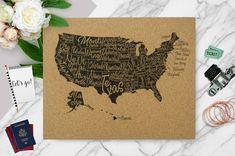 50 States  USA  Lettered States  Labeled States by RasurePrintsLLC